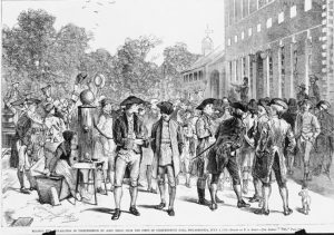An Illustration of Colonists at Independence Hall Hearing the Declaration of Independence Read for the First Time.