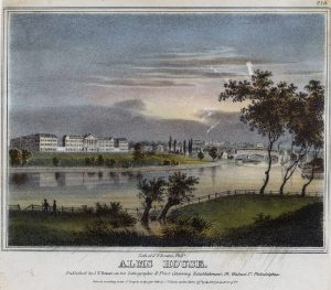 A color illustration of Blockley Alms House with a river and open fields in front of it. Building is four stories tall and white with a grey slate roof.