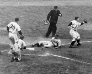 Phillies Shortstop Granville Hammer Sliding Across Home Plate in Game Three of the 1950 World Series