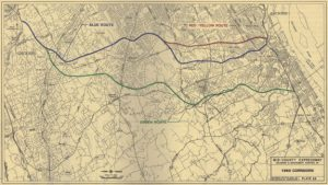 A map showing proposed routes of Interstate 476, labled