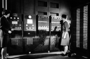 Jean Jenning and Frances Bilas Working on the Main Control Panel of the ENIAC.
