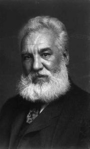 a black and white photograph of Alexander Graham Bell