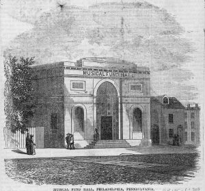 A black and white illustration of the Musical Fund Hall