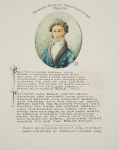 water color painting of Robert Bogle, accompanied by a poem about Bogle written by Nicholas Biddle.