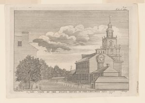 An ink drawing of the Pennsylvania State House from 1778.