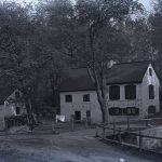 A black and white photograph of David Rittenhouse's birthplace, situated along the Lincoln Drive.
