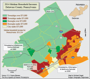 color map of Delaware County PA showing median household incomes, 2014