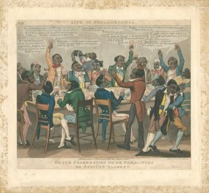 A group of black people in fancy clothing, drinking while celebrating the abolition of slavery..