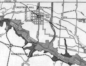 A 1915 map of Northwest Philadelphia, with the Chestnut Hill neighborhood in the left center. The Lincoln Drive, with its proposed expansions, cuts through the center of the neighborhood from right to left.