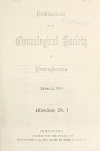 Cover of the 1895 Publications of the Genealogical Society of Pennsylvania.