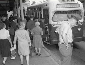 People await outside the 69th Street Terminal for a Red Arrow bus