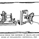 A black and white line drawing of a prototype telephone