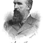 A black and white illustrated portrait of Elisha Gray
