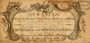 The heavily decorated front page of the sheet music book Urania, A Choice collection of Psalm-tunes, Anthems, and Hymns.