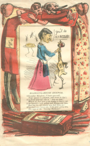 "a cartoon of a grotesque woman holding a scrawny chicken by the neck. Writing on the chicken reads ""age 65"". Behind her, insects infest a stick of butter on a plate. A poem underneath the image mocks the meagre meals boarders were served."