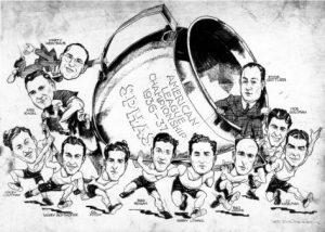 A comic sketch commemorating the SPHAS 1936-37 championship victory