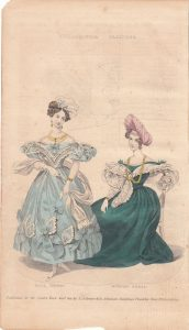 a color illustration of two women in ninteenth century-style dresses.
