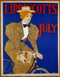 "a color illustration of a woman in a brown dress and straw hat riding a bicycle. She carries a book or magazine in one hand. Text reads ""Lippincott's July"""