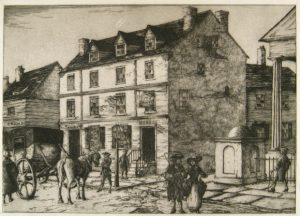 a black and white illustration of the City Tavern with a crowd of pedestrians and horse-drawn vehicles on the street in front of it.