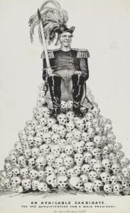 A man dressed as a nineteenth century general sits atop a throne of skulls.