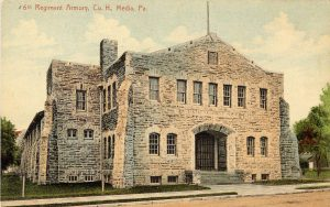 color postcard of the armory in Media, Pennsylvania.