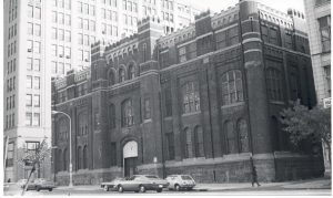 black and white photo of the front of the First Regiment Armory.
