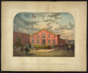 color lithograph of 1863 armory building with horsemen and pedestrians in the foreground.