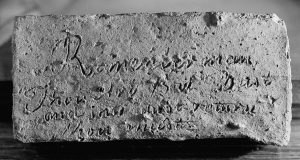 Photograph of inscribed brick
