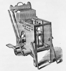 Illustration of a brick-pressing machine