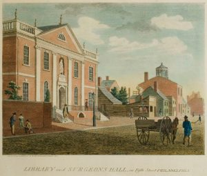 A colorized engraving depicting the first Library Company building.