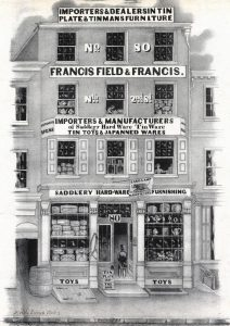 A blank and white print of the Franics, Field, and Francis storefront.