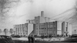A black and white image of the construction plans for Frederick Douglass School in Philadelphia.