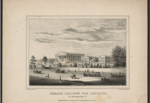 A lithograph print of the campus of Girard College for Orphans.
