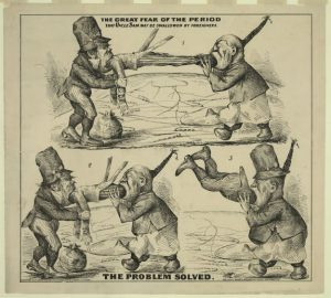A political cartoon of an Irish-American and a Chinese-American eating Uncle Sam, illustrating xenophobic sentiments in the United States during the late 19th century.