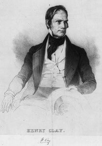 A lithograph of Henry Clay, who is seated as he looks into the distance away from the viewer of the portrait.