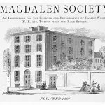 A print of a drawing of the Magdalen Society building, which is a 4 story brick building with an eleven foot wall surrounding the peremiter.