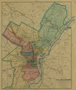 A ninteenth century map of Philadelphia after its consolidation with the surronding County in 1854. Various parts of the City are shaded in different colors.