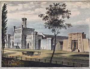 Color lithograph depicting large, gothic-style structure with adjacent Egyptian-revival building. A black horse-drawn carriage is shown passing in the foreground as two men look on.