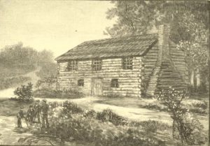 Black and gray illustration of a three bay log building with chimney; Four men standing at the end of a walkway connecting the building to the road.