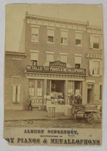 A photograph of the Albert Schoenhut Toys storefront.