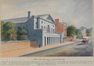 A color illustration of the second Chestnut Street Theater, a large white building in the Greek Revival style.