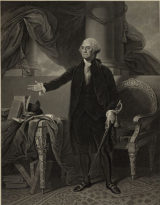a black and white painting of George Washington standing in his chambers.