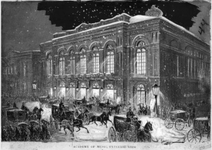 a black and white illustration of the Academy of Music with carriages dropping off guests in the foreground.