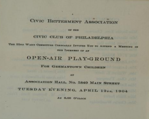 a notice informing the public that the Civic Club of Philadelphia is raising funds to build an open-air playground for the children of Germantown.