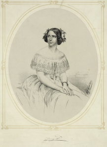 A black and white portrait of Jenny Lind
