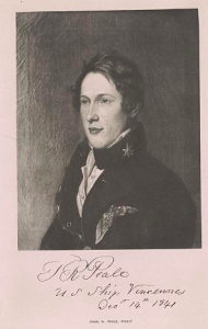 a black and white illustration of Titian Ramsay Peale.
