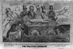 A ninteenth century political cartoon depicting Andrew Jackson being roasted over a barbecue, with several people watching and commenting on his demise.