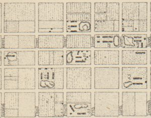 Detail of 1794 map showing locations of brickyards