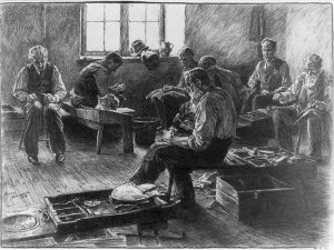 a black and white illustration of a shoemaking shop. Inside are seven elderly male shoemakers at work. They are seated on benches and surrounded by buckets and the tools of their trade. A cat sleeps on one of the benches.