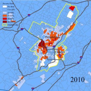 This map shows the extent of poverty of the Greater Philadelphia in 2010